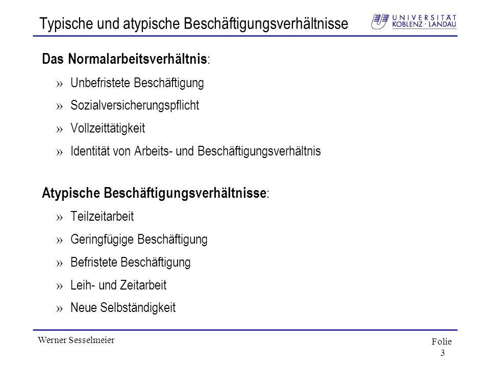 Folie 3 Werner Sesselmeier Typische und atypische Beschäftigungsverhältnisse Das Normalarbeitsverhältnis : » Unbefristete Beschäftigung » Sozialversic