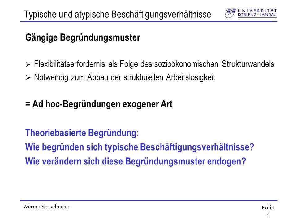 Folie 4 Werner Sesselmeier Typische und atypische Beschäftigungsverhältnisse Gängige Begründungsmuster Flexibilitätserfordernis als Folge des sozioöko