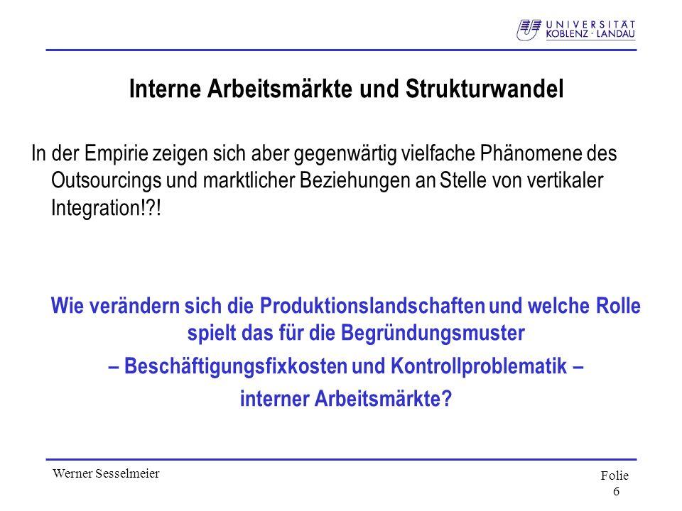Folie 6 Werner Sesselmeier Interne Arbeitsmärkte und Strukturwandel In der Empirie zeigen sich aber gegenwärtig vielfache Phänomene des Outsourcings u