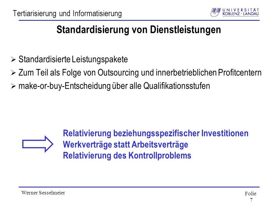 Folie 7 Werner Sesselmeier Tertiarisierung und Informatisierung Standardisierung von Dienstleistungen Standardisierte Leistungspakete Zum Teil als Fol
