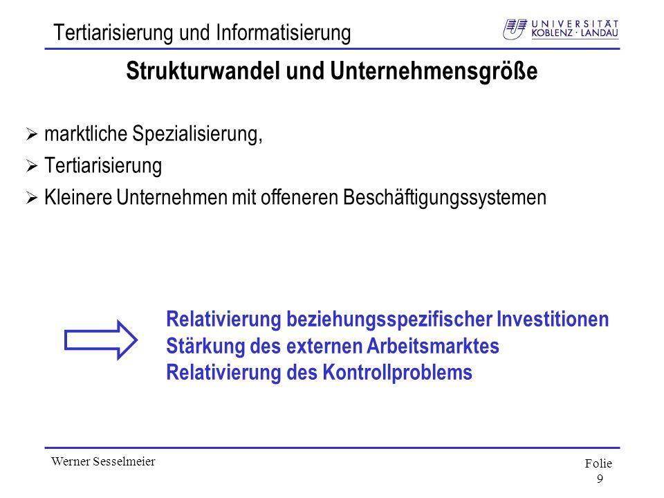 Folie 9 Werner Sesselmeier Tertiarisierung und Informatisierung Strukturwandel und Unternehmensgröße marktliche Spezialisierung, Tertiarisierung Klein