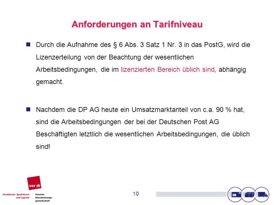 10 Anforderungen an Tarifniveau Durch die Aufnahme des § 6 Abs. 3 Satz 1 Nr. 3 in das PostG, wird die Lizenzerteilung von der Beachtung der wesentlich