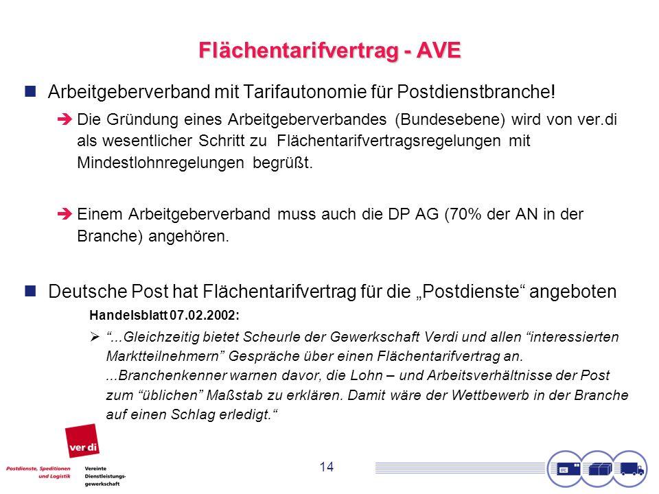 14 Flächentarifvertrag - AVE Arbeitgeberverband mit Tarifautonomie für Postdienstbranche! Die Gründung eines Arbeitgeberverbandes (Bundesebene) wird v