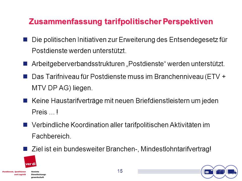 15 Zusammenfassung tarifpolitischer Perspektiven Die politischen Initiativen zur Erweiterung des Entsendegesetz für Postdienste werden unterstützt. Ar