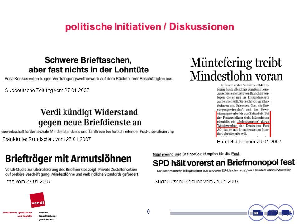 9 politische Initiativen / Diskussionen Süddeutsche Zeitung vom 27.01.2007 Frankfurter Rundschau vom 27.01.2007 taz vom 27.01.2007 Handelsblatt vom 29