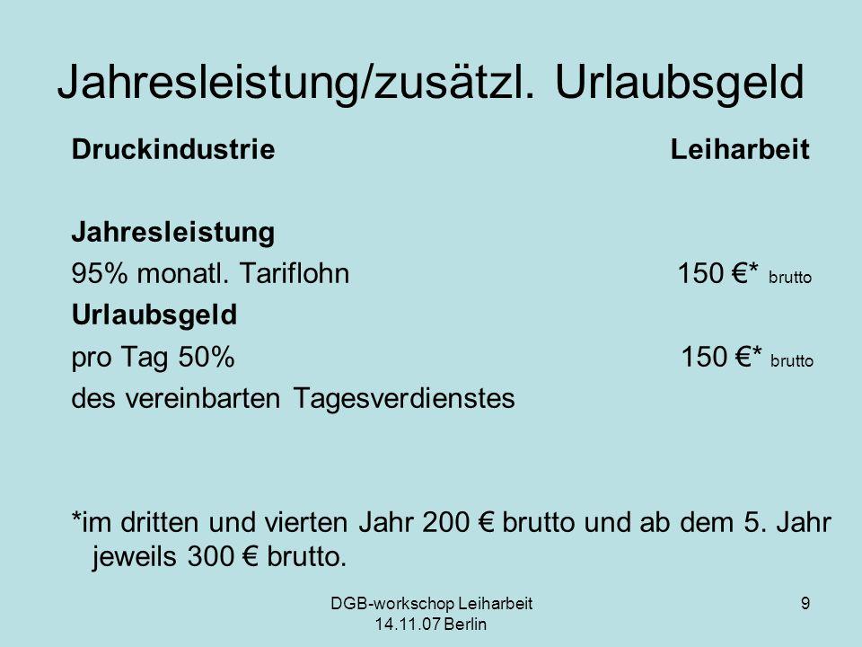 DGB-workschop Leiharbeit 14.11.07 Berlin 9 Jahresleistung/zusätzl. Urlaubsgeld Druckindustrie Leiharbeit Jahresleistung 95% monatl. Tariflohn 150 * br