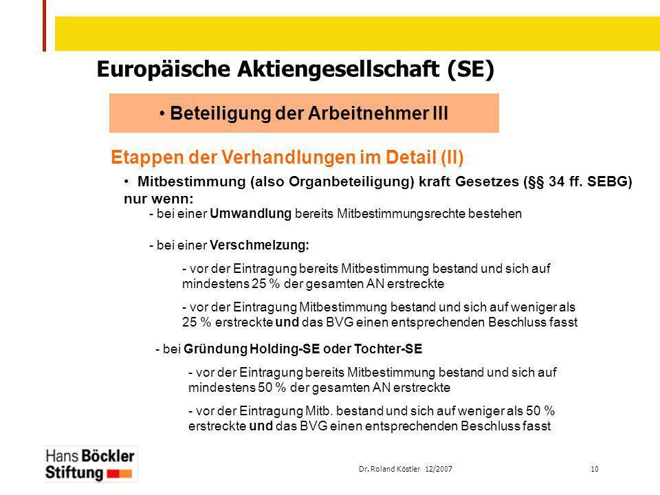 Dr. Roland Köstler 12/2007 10 Europäische Aktiengesellschaft (SE) Beteiligung der Arbeitnehmer III Etappen der Verhandlungen im Detail (II) Mitbestimm