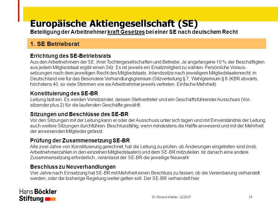 Dr. Roland Köstler 12/2007 14 Europäische Aktiengesellschaft (SE) Beteiligung der Arbeitnehmer kraft Gesetzes bei einer SE nach deutschem Recht Errich