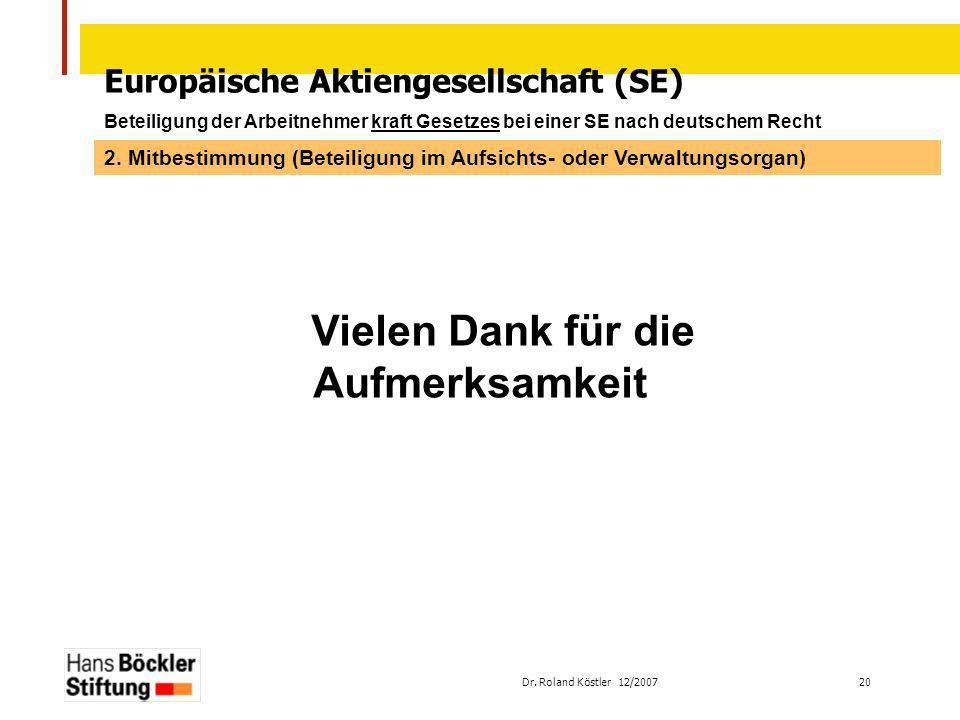 Dr. Roland Köstler 12/2007 20 Europäische Aktiengesellschaft (SE) Beteiligung der Arbeitnehmer kraft Gesetzes bei einer SE nach deutschem Recht Vielen