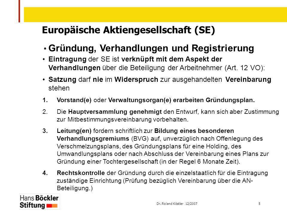 Dr. Roland Köstler 12/2007 5 Europäische Aktiengesellschaft (SE) Gründung, Verhandlungen und Registrierung Eintragung der SE ist verknüpft mit dem Asp