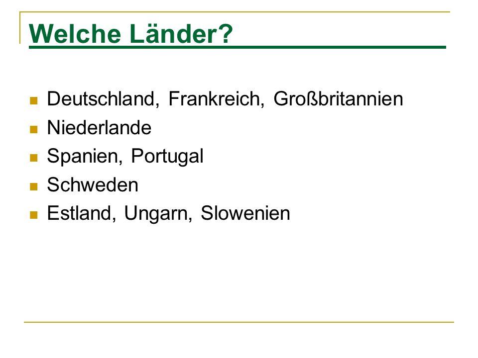 Welche Länder? Deutschland, Frankreich, Großbritannien Niederlande Spanien, Portugal Schweden Estland, Ungarn, Slowenien