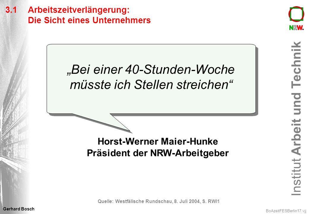 Institut Arbeit und Technik BoAzeitFESBerlin17.vjj Gerhard Bosch Horst-Werner Maier-Hunke Präsident der NRW-Arbeitgeber Quelle: Westfälische Rundschau