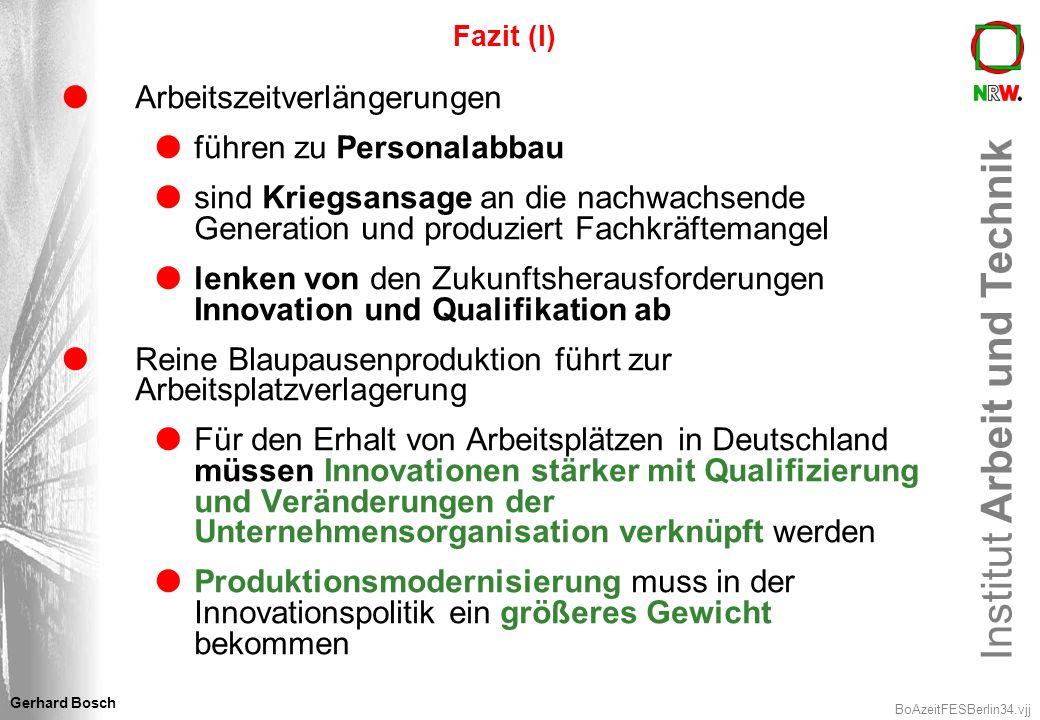 Institut Arbeit und Technik BoAzeitFESBerlin34.vjj Gerhard Bosch Fazit (I) Arbeitszeitverlängerungen führen zu Personalabbau sind Kriegsansage an die