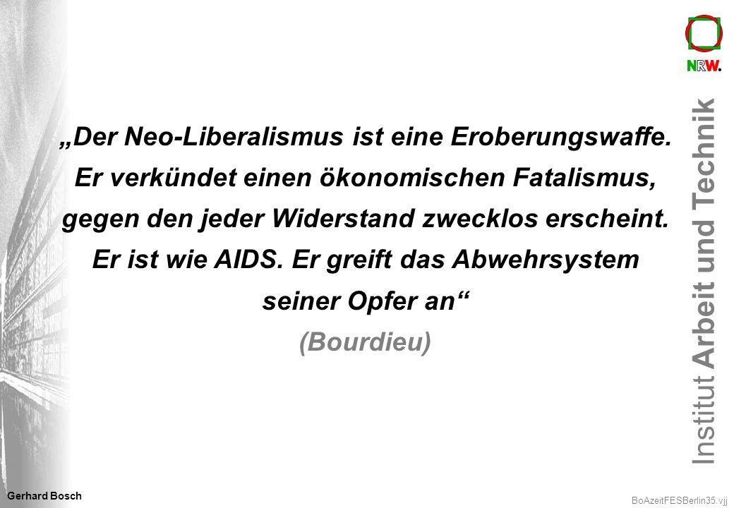 Institut Arbeit und Technik BoAzeitFESBerlin35.vjj Gerhard Bosch Der Neo-Liberalismus ist eine Eroberungswaffe. Er verkündet einen ökonomischen Fatali