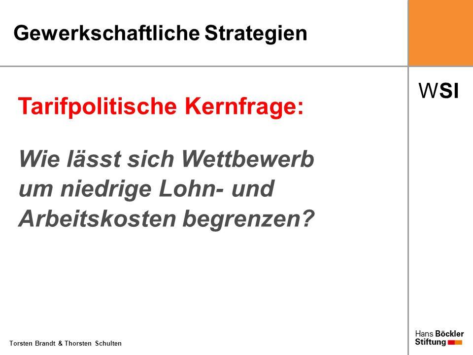 WSI Torsten Brandt & Thorsten Schulten Gewerkschaftliche Strategien Tarifpolitische Kernfrage: Wie lässt sich Wettbewerb um niedrige Lohn- und Arbeits