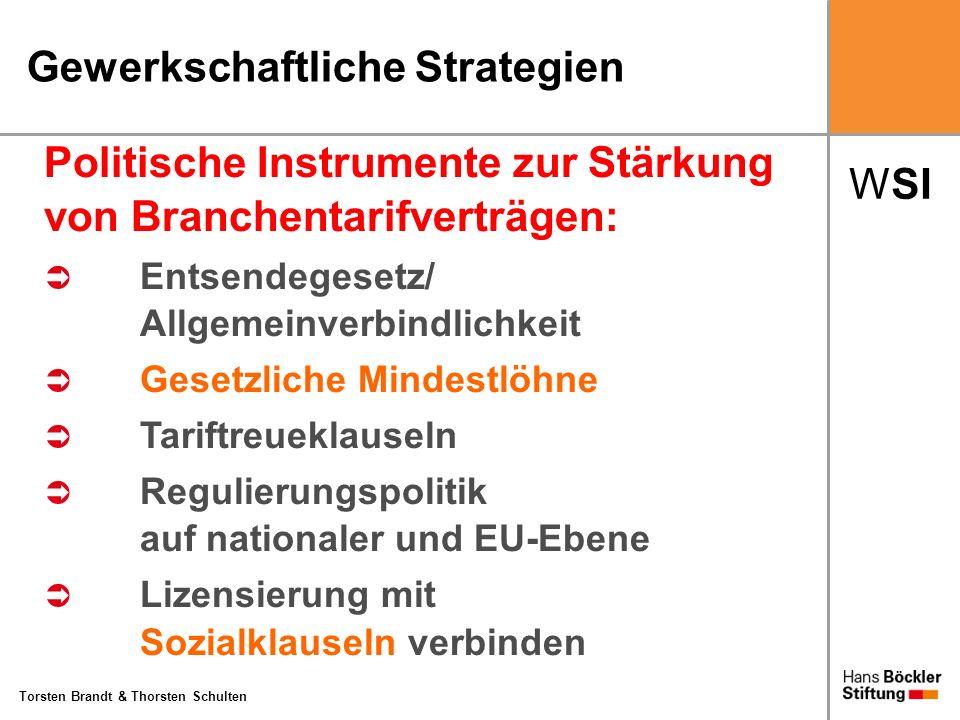 WSI Torsten Brandt & Thorsten Schulten Gewerkschaftliche Strategien Politische Instrumente zur Stärkung von Branchentarifverträgen: Entsendegesetz/ Al