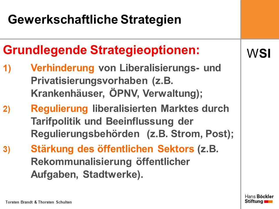 WSI Torsten Brandt & Thorsten Schulten Gewerkschaftliche Strategien Grundlegende Strategieoptionen: 1) Verhinderung von Liberalisierungs- und Privatis