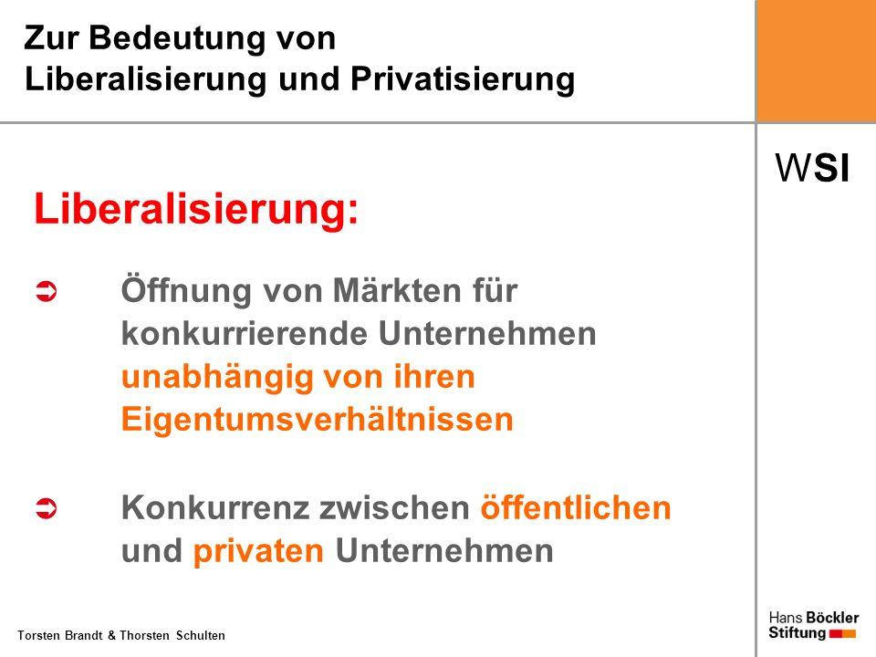 WSI Torsten Brandt & Thorsten Schulten Zur Bedeutung von Liberalisierung und Privatisierung Liberalisierung: Öffnung von Märkten für konkurrierende Un
