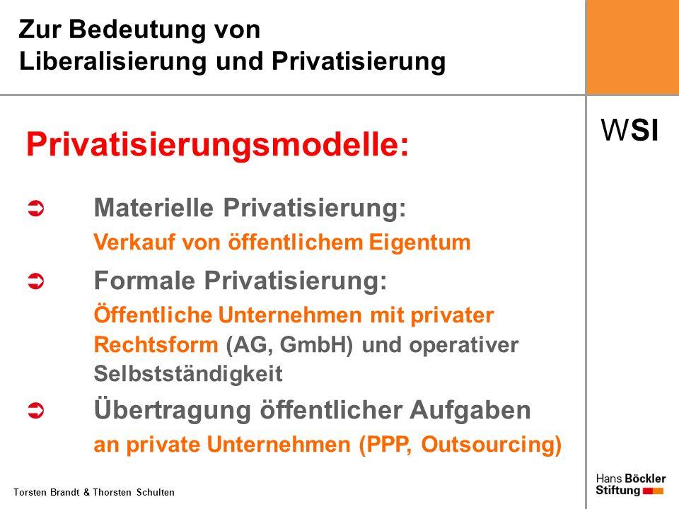WSI Torsten Brandt & Thorsten Schulten Zur Bedeutung von Liberalisierung und Privatisierung Privatisierungsmodelle: Materielle Privatisierung: Verkauf