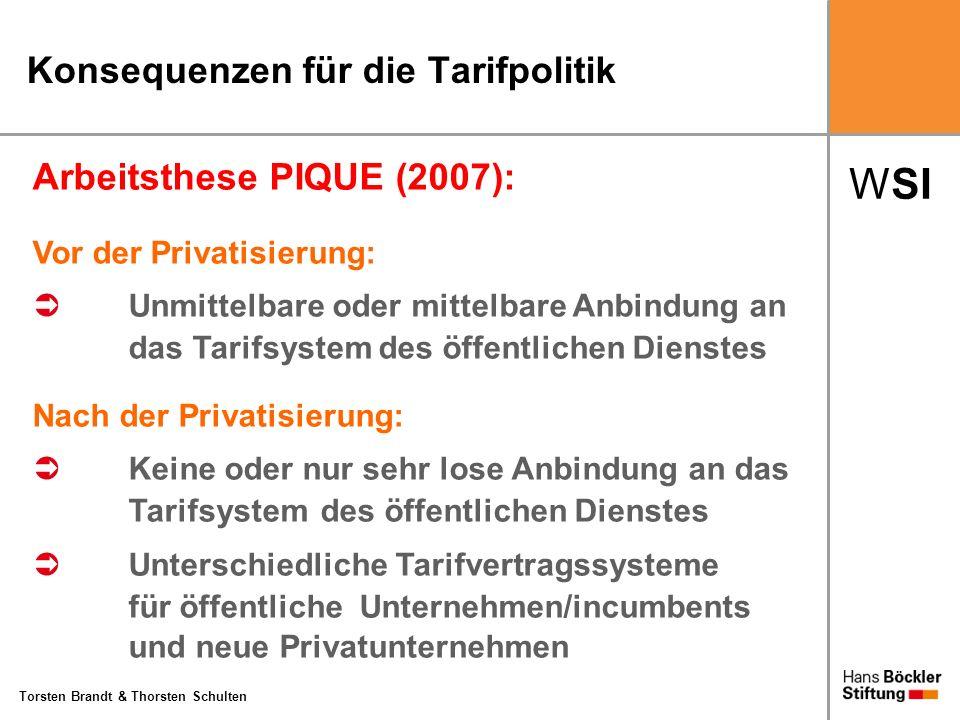 WSI Torsten Brandt & Thorsten Schulten Konsequenzen für die Tarifpolitik Arbeitsthese PIQUE (2007): Vor der Privatisierung: Unmittelbare oder mittelba