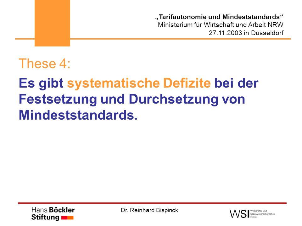 Dr. Reinhard Bispinck Tarifautonomie und Mindeststandards Ministerium für Wirtschaft und Arbeit NRW 27.11.2003 in Düsseldorf These 4: Es gibt systemat