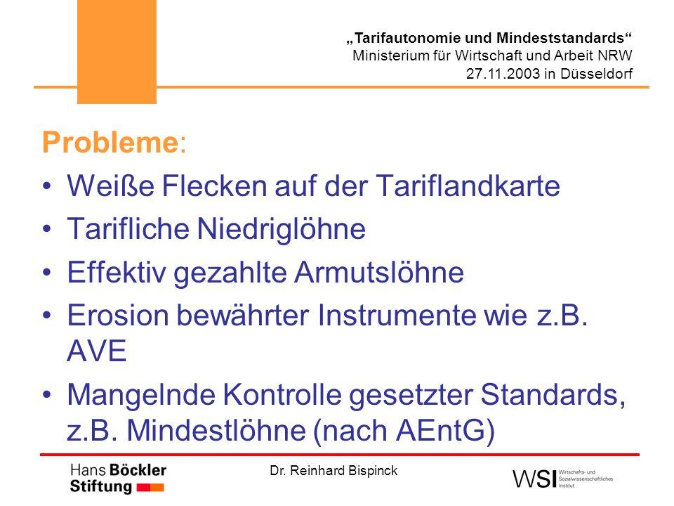 Dr. Reinhard Bispinck Tarifautonomie und Mindeststandards Ministerium für Wirtschaft und Arbeit NRW 27.11.2003 in Düsseldorf Probleme: Weiße Flecken a