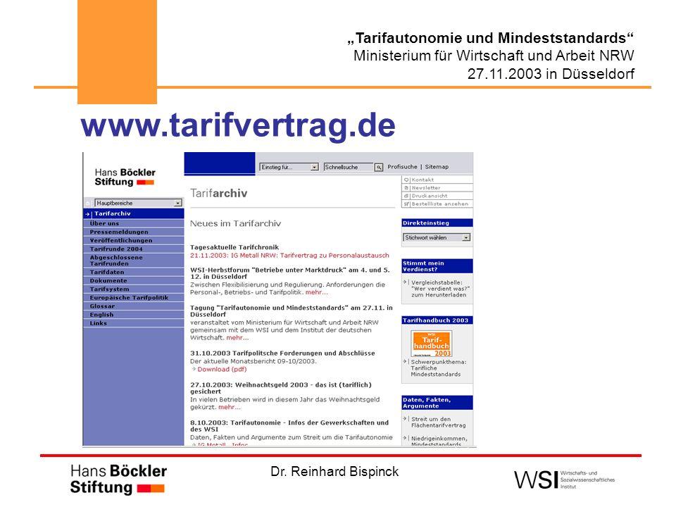 Dr. Reinhard Bispinck Tarifautonomie und Mindeststandards Ministerium für Wirtschaft und Arbeit NRW 27.11.2003 in Düsseldorf www.tarifvertrag.de