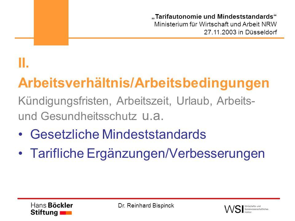 Dr. Reinhard Bispinck Tarifautonomie und Mindeststandards Ministerium für Wirtschaft und Arbeit NRW 27.11.2003 in Düsseldorf II. Arbeitsverhältnis/Arb