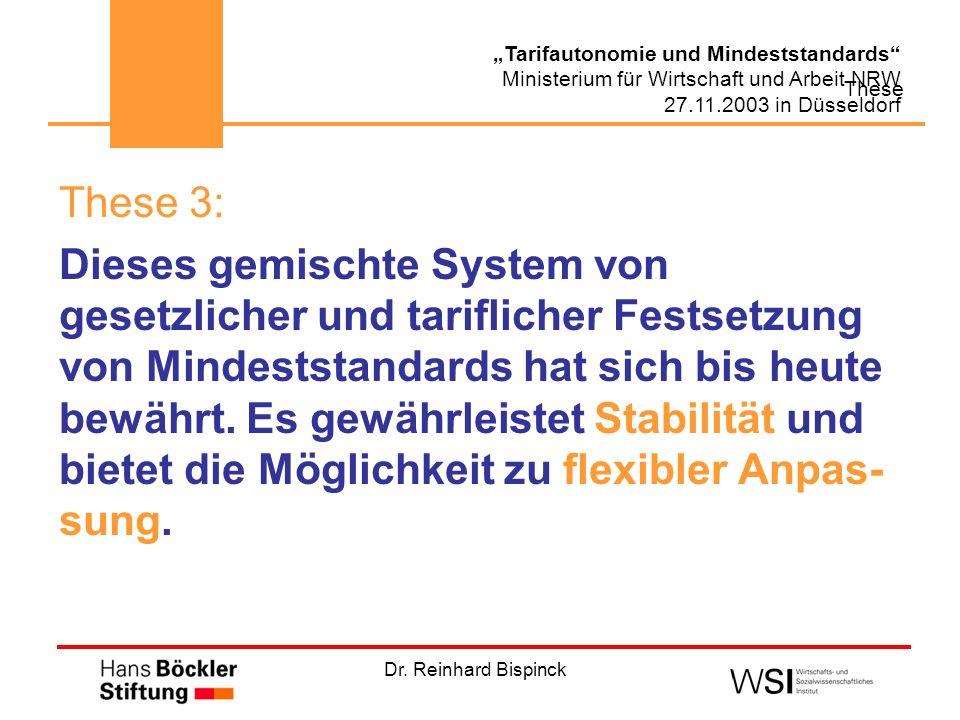 Dr. Reinhard Bispinck Tarifautonomie und Mindeststandards Ministerium für Wirtschaft und Arbeit NRW 27.11.2003 in Düsseldorf These These 3: Dieses gem
