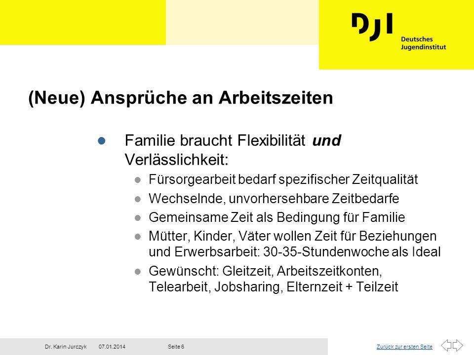 Zurück zur ersten Seite07.01.2014Dr. Karin JurczykSeite 6 (Neue) Ansprüche an Arbeitszeiten l Familie braucht Flexibilität und Verlässlichkeit: l Fürs