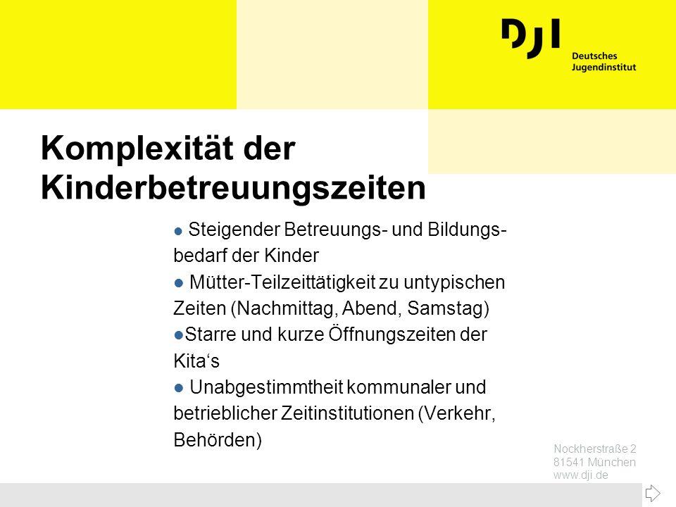 Nockherstraße 2 81541 München www.dji.de Komplexität der Kinderbetreuungszeiten l Steigender Betreuungs- und Bildungs- bedarf der Kinder l Mütter-Teil
