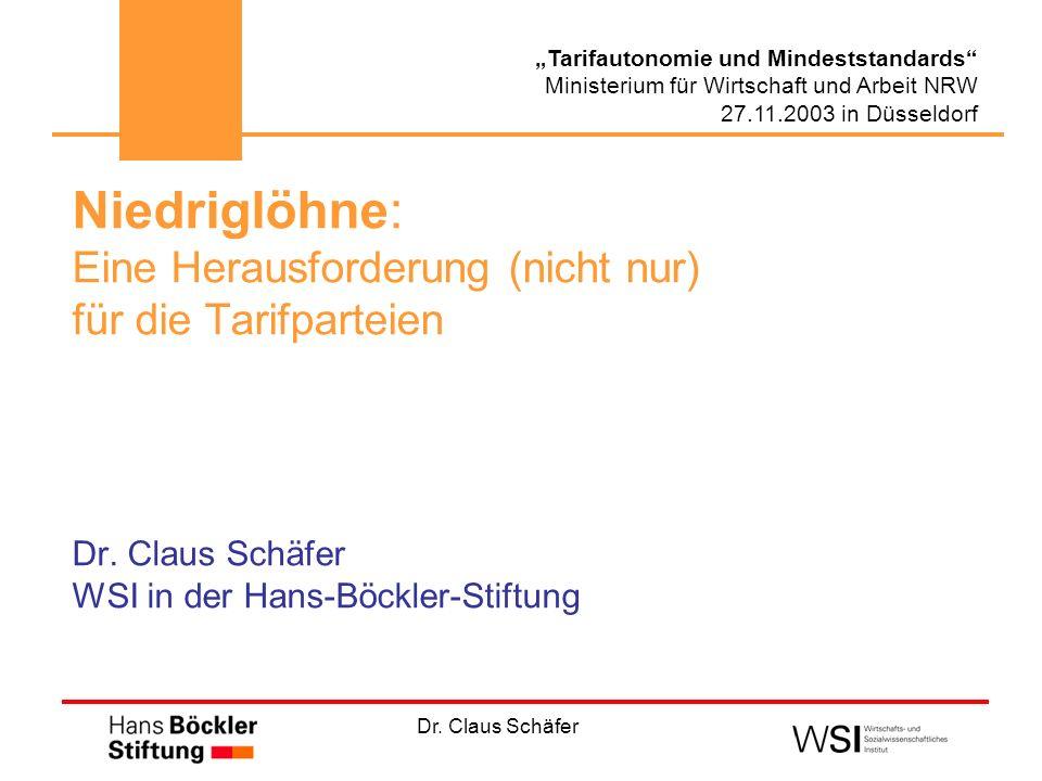 Dr. Claus Schäfer Tarifautonomie und Mindeststandards Ministerium für Wirtschaft und Arbeit NRW 27.11.2003 in Düsseldorf Niedriglöhne: Eine Herausford