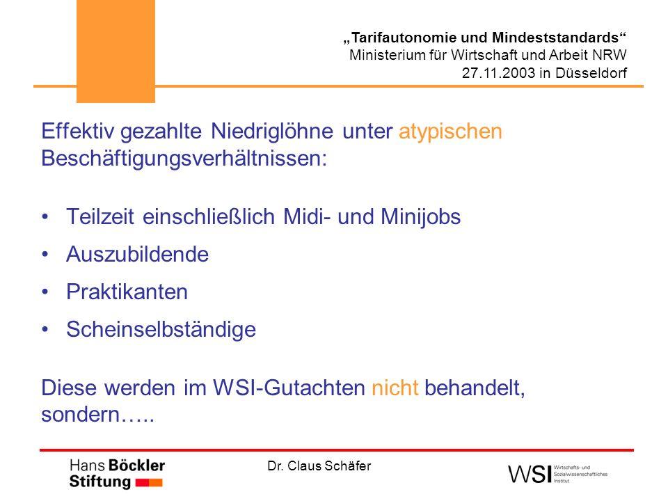Dr. Claus Schäfer Tarifautonomie und Mindeststandards Ministerium für Wirtschaft und Arbeit NRW 27.11.2003 in Düsseldorf Effektiv gezahlte Niedriglöhn