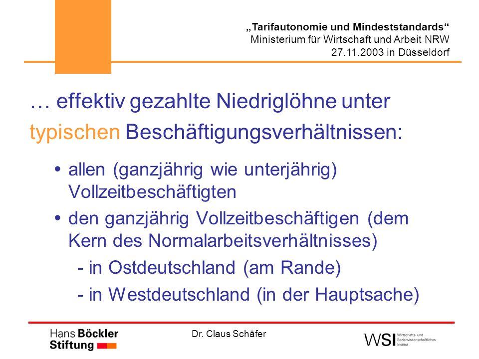 Dr. Claus Schäfer Tarifautonomie und Mindeststandards Ministerium für Wirtschaft und Arbeit NRW 27.11.2003 in Düsseldorf … effektiv gezahlte Niedriglö