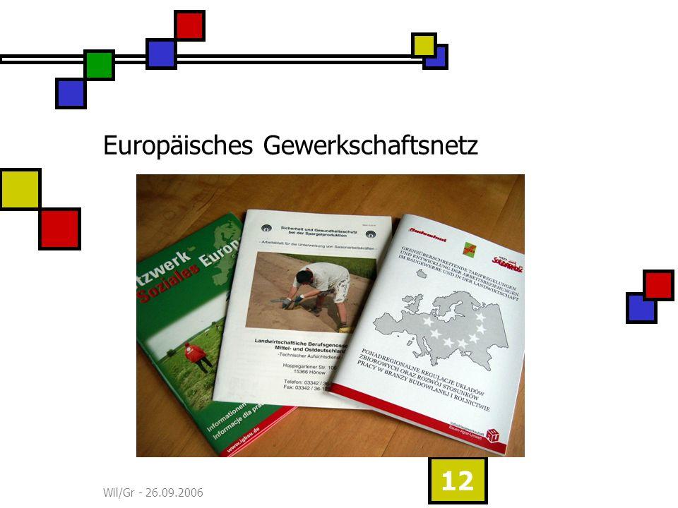 Wil/Gr - 26.09.2006 12 Europäisches Gewerkschaftsnetz