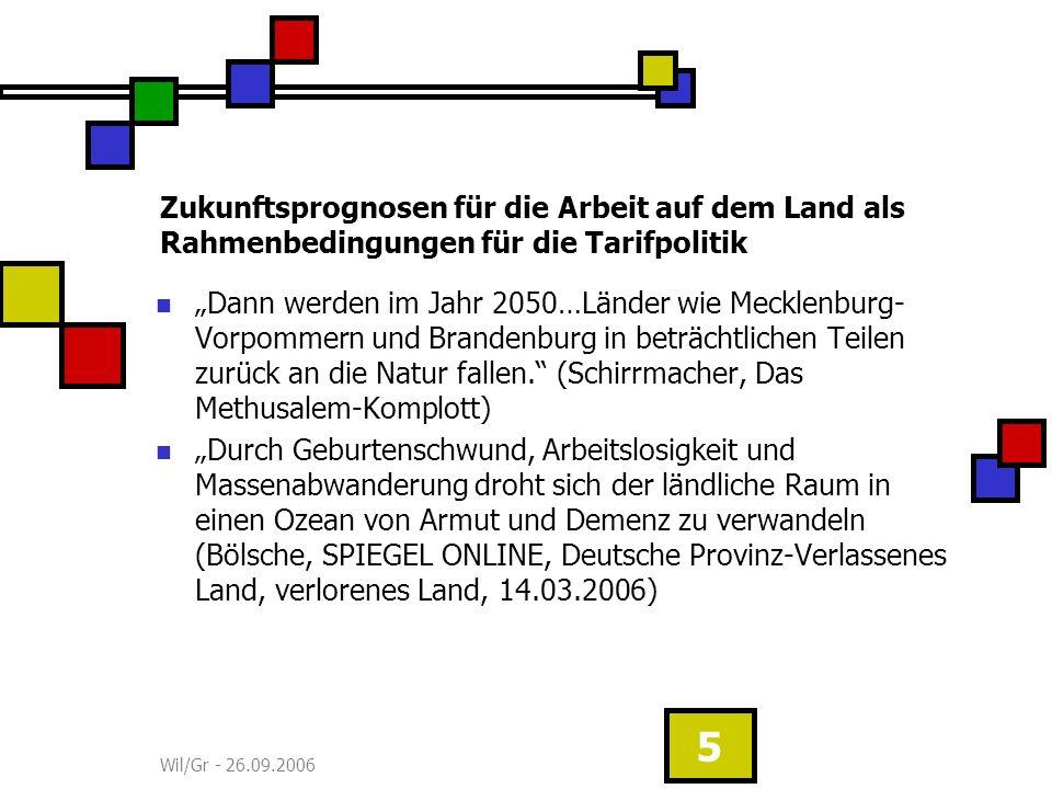 Wil/Gr - 26.09.2006 5 Zukunftsprognosen für die Arbeit auf dem Land als Rahmenbedingungen für die Tarifpolitik Dann werden im Jahr 2050…Länder wie Mecklenburg- Vorpommern und Brandenburg in beträchtlichen Teilen zurück an die Natur fallen.