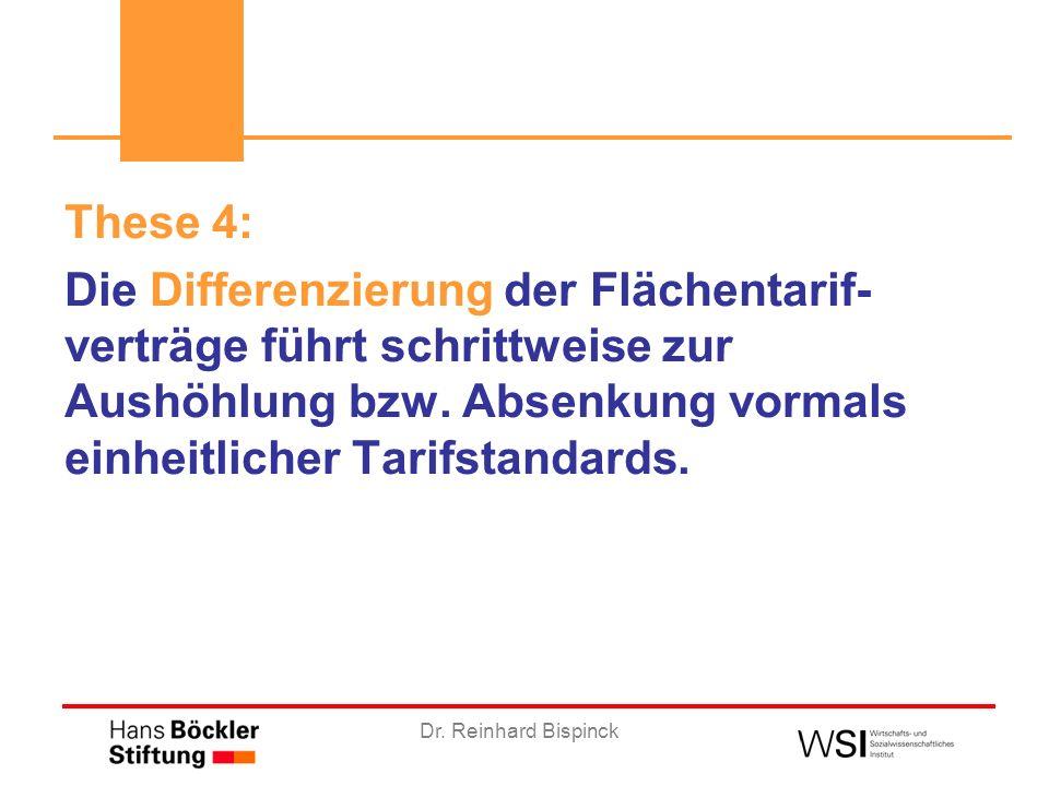 Dr. Reinhard Bispinck These 4: Die Differenzierung der Flächentarif- verträge führt schrittweise zur Aushöhlung bzw. Absenkung vormals einheitlicher T