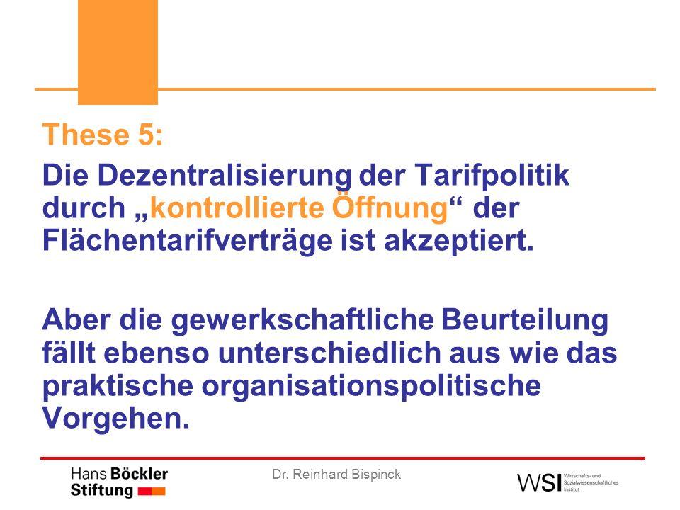 Dr. Reinhard Bispinck These 5: Die Dezentralisierung der Tarifpolitik durch kontrollierte Öffnung der Flächentarifverträge ist akzeptiert. Aber die ge