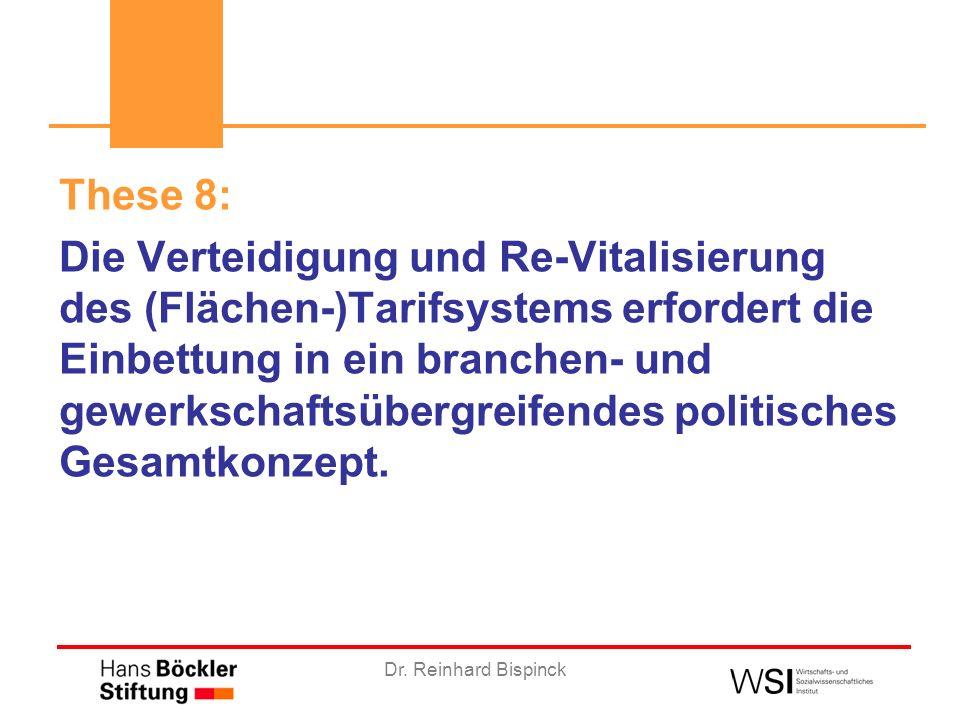Dr. Reinhard Bispinck These 8: Die Verteidigung und Re-Vitalisierung des (Flächen-)Tarifsystems erfordert die Einbettung in ein branchen- und gewerksc