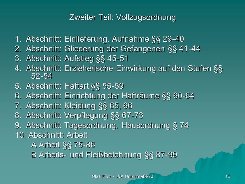 Olaf Filler - JVA Untermaßfeld 13 Zweiter Teil: Vollzugsordnung 1. Abschnitt: Einlieferung, Aufnahme §§ 29-40 2. Abschnitt: Gliederung der Gefangenen