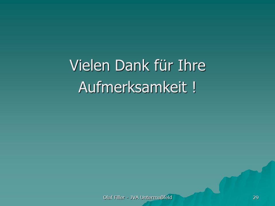 Olaf Filler - JVA Untermaßfeld 29 Vielen Dank für Ihre Aufmerksamkeit !