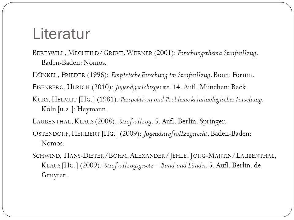 Literatur B ERESWILL, M ECHTILD /G REVE, W ERNER (2001): Forschungsthema Strafvollzug. Baden-Baden: Nomos. D ÜNKEL, F RIEDER (1996): Empirische Forsch