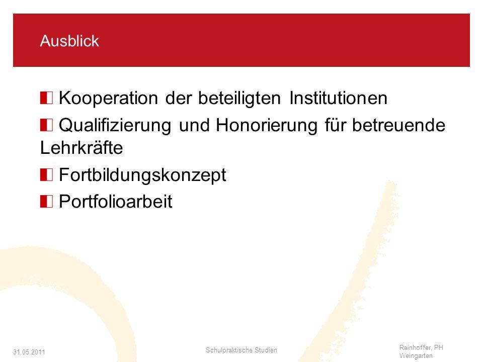 Reinhoffer, PH Weingarten 31.05.2011 Schulpraktische Studien Ausblick Kooperation der beteiligten Institutionen Qualifizierung und Honorierung für betreuende Lehrkräfte Fortbildungskonzept Portfolioarbeit
