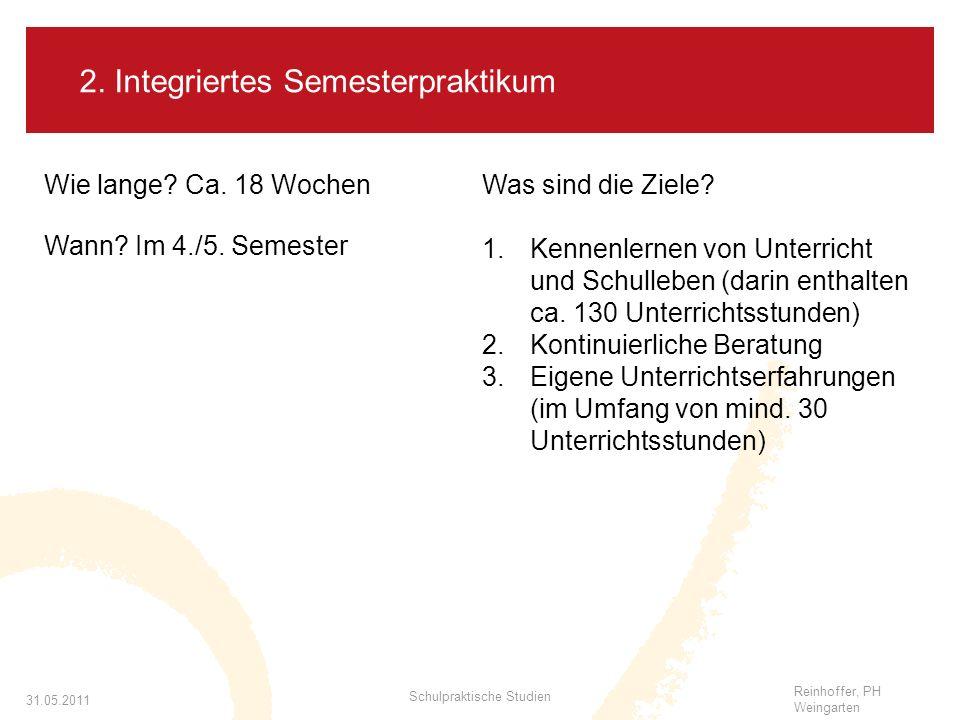 Reinhoffer, PH Weingarten 31.05.2011 Schulpraktische Studien 2.