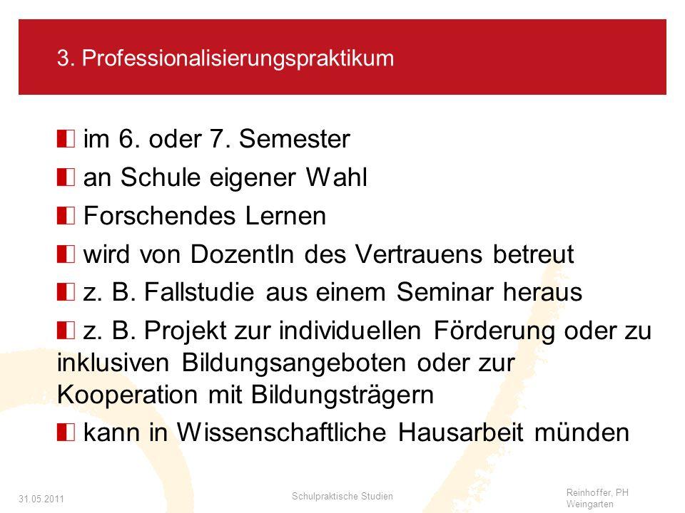 Reinhoffer, PH Weingarten 31.05.2011 Schulpraktische Studien 3.