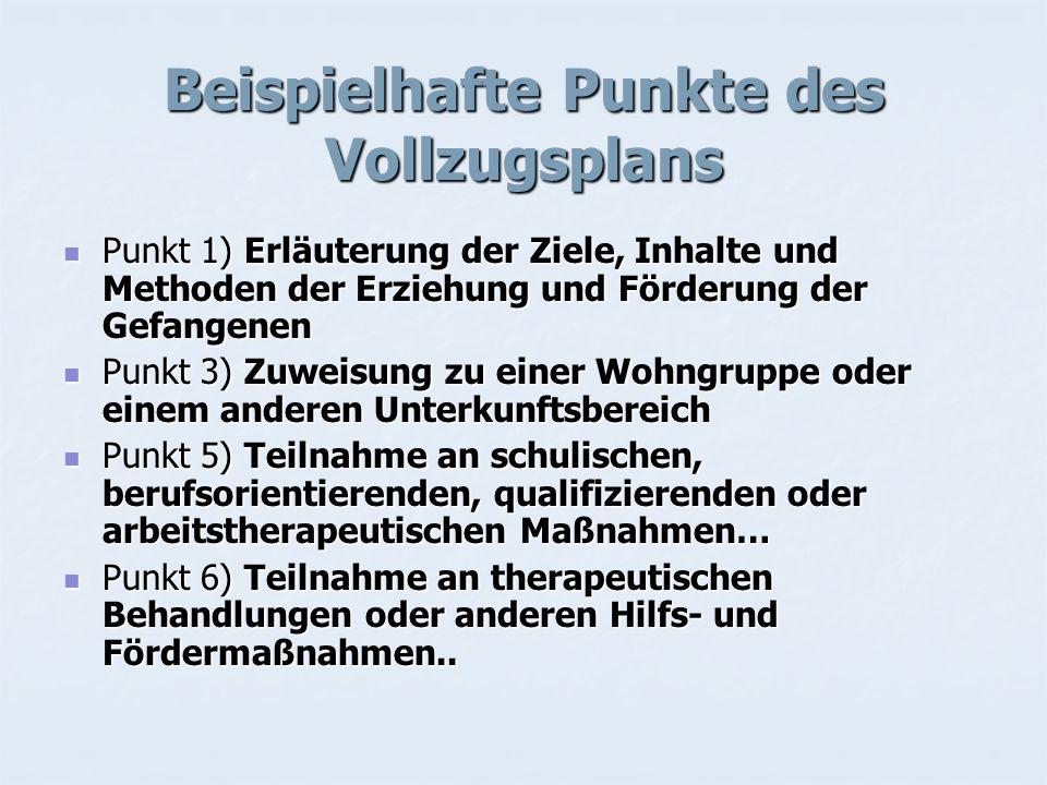 Beispielhafte Punkte des Vollzugsplans Punkt 1) Erläuterung der Ziele, Inhalte und Methoden der Erziehung und Förderung der Gefangenen Punkt 1) Erläut