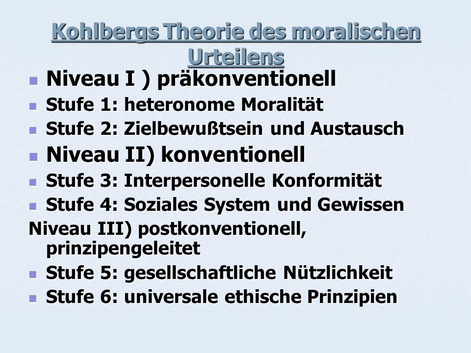 Kohlbergs Theorie des moralischen Urteilens Niveau I ) präkonventionell Niveau I ) präkonventionell Stufe 1: heteronome Moralität Stufe 1: heteronome