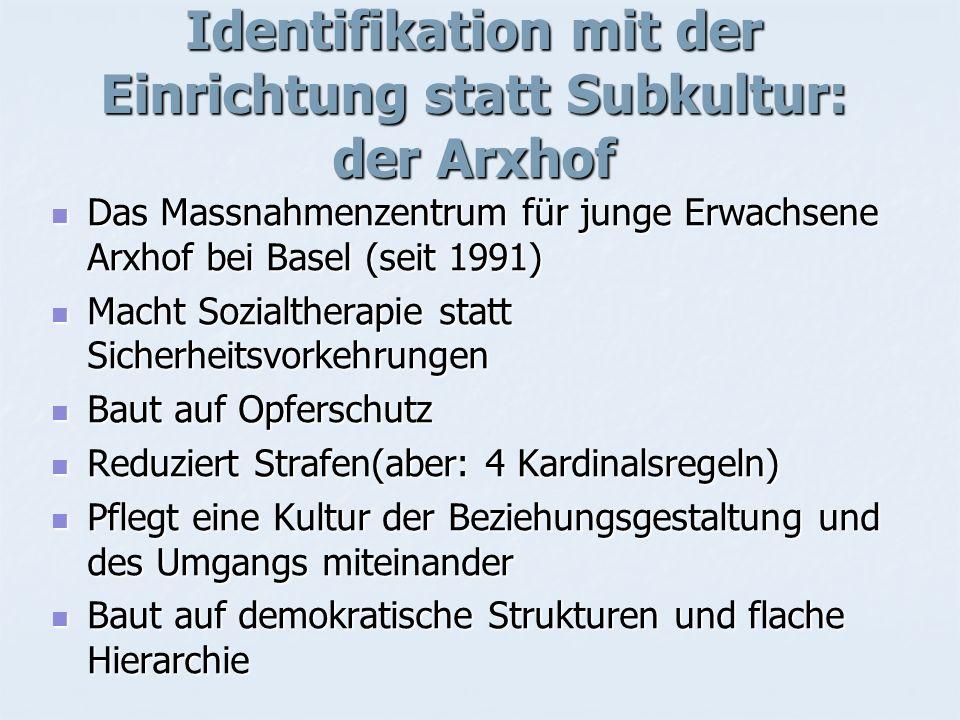 Identifikation mit der Einrichtung statt Subkultur: der Arxhof Das Massnahmenzentrum für junge Erwachsene Arxhof bei Basel (seit 1991) Das Massnahmenz