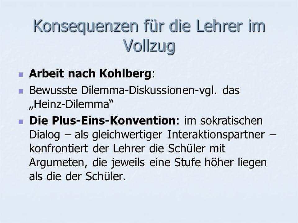 Konsequenzen für die Lehrer im Vollzug Arbeit nach Kohlberg: Arbeit nach Kohlberg: Bewusste Dilemma-Diskussionen-vgl. das Heinz-Dilemma Bewusste Dilem