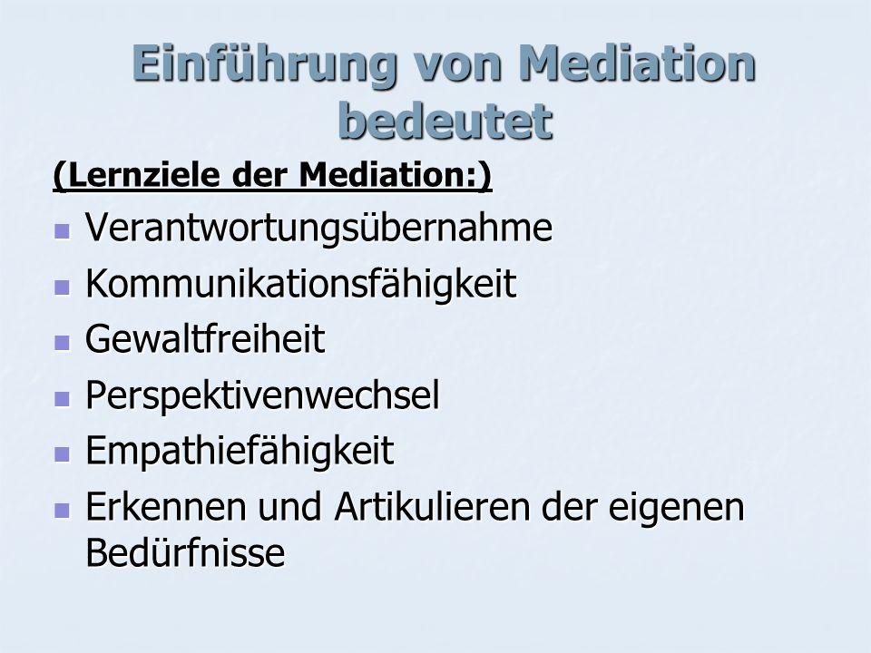 Einführung von Mediation bedeutet (Lernziele der Mediation:) Verantwortungsübernahme Verantwortungsübernahme Kommunikationsfähigkeit Kommunikationsfäh